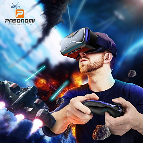 VR-Headset-with-Controller-Pasonomi-VR-X-Virtual-Reality-Headset-w-Bluetooth-Remote-Controller-for-3D-Movies-Games-for-iPhone-Samsung-LG-HTC-One-Plus-and-Google-Android-Smartphone-0-0