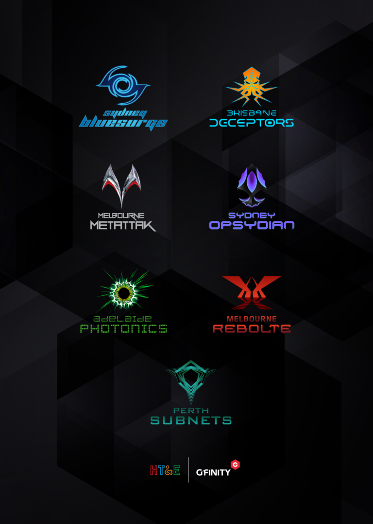 AU eSports franchise logos vertical 768x1077 Details Emerge On Australias First City Based eSports League