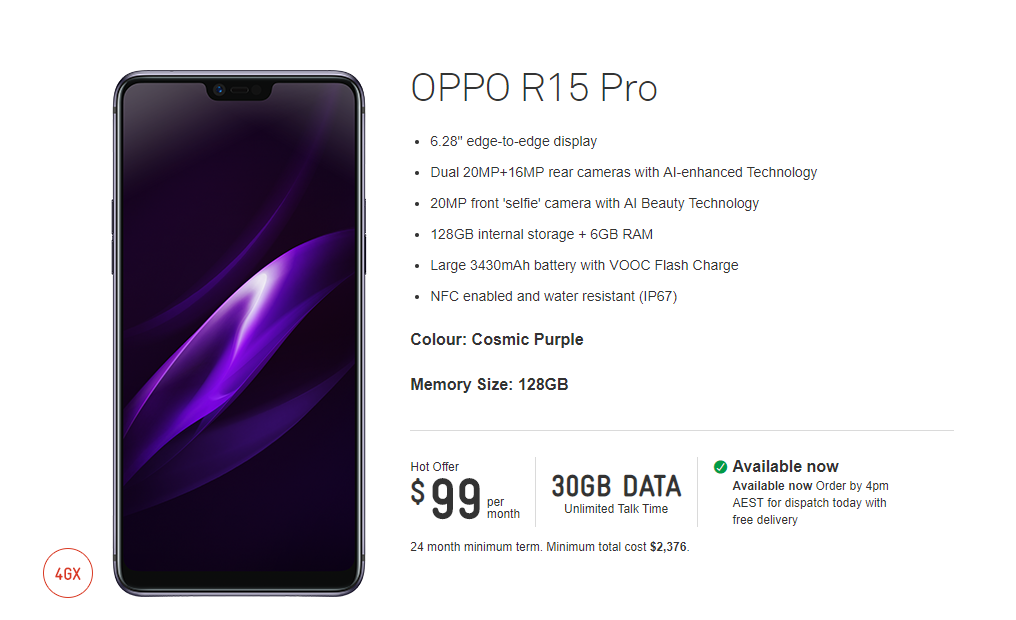 oppo r15 pro OPPO R15 Pro Available At Telstra