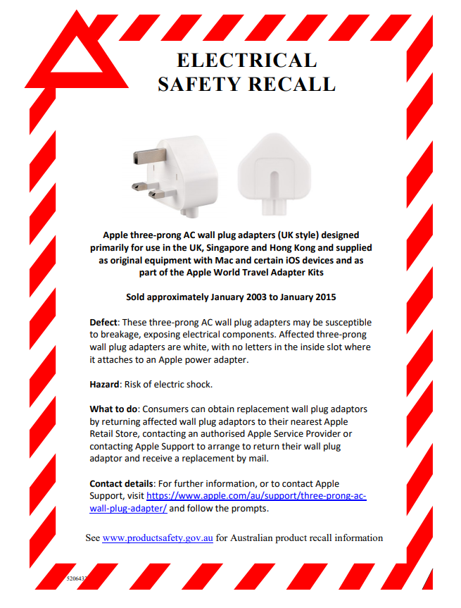 apple adaptor Apple Adaptors Recalled Over Shock Risk