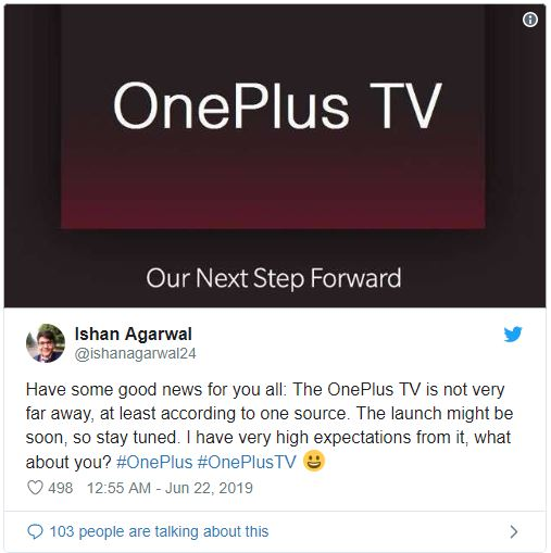 OnePlus TV tweet OnePlus To Launch First TV Soon