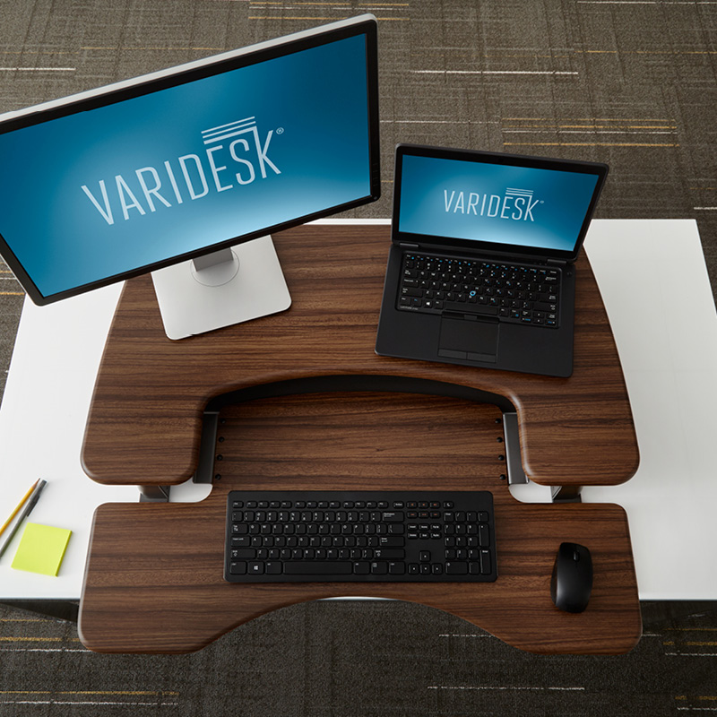 varidesk proplus 36 dark wood overhead REVIEW: VariDesk ProPlus36 Stands Up To Be Counted