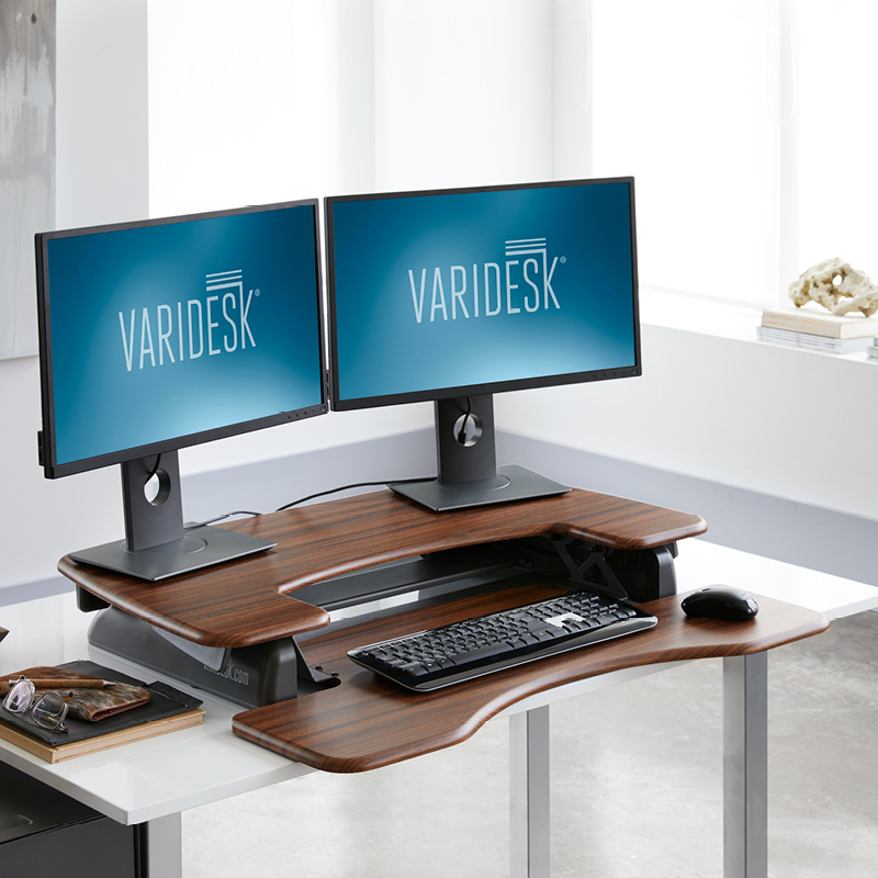 varidesk proplus 36 dark wood raised in office 2 REVIEW: VariDesk ProPlus36 Stands Up To Be Counted